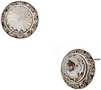 Silver Plating Swarovski Element Crystal 15mm Rondelle Circle Round Stud Earring