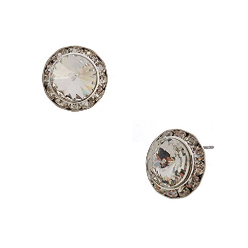 Rhinestone Crystal Round Stud (Silver Plating Swarovski Element Crystal 15mm Rondelle Circle Round Stud Earring)
