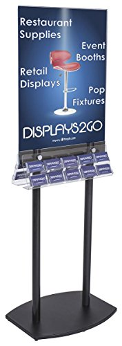 (Displays2go, Floor Standing Signage Holder with Pockets, Acrylic, Laminated MDF Base - Black, Clear (BC10DCLPSB))
