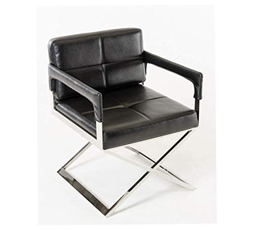 Wood & Style Furniture Classically Modern Upholstered Bonded Leather Accent Chair with Arms and Stainless Steel Crossed Legs, Black Home Office Commerial Heavy Duty Strong Décor ()
