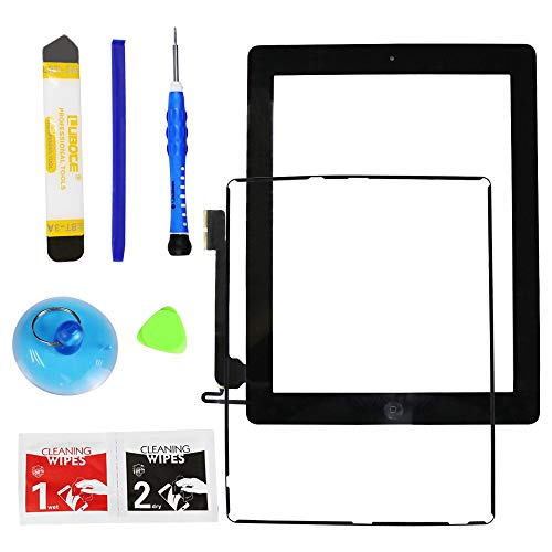 : Monstleo for iPad 4 (4th Generation) Touch Screen Glass Digitizer Replacement, Home Button Assembly, Midframe Bezel, Pre-Installed Adhesive Tape, Free Tools,Black