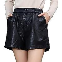 Haadid Women's Comfortable Casual Elastic Waist Wide Leg Leather Shorts