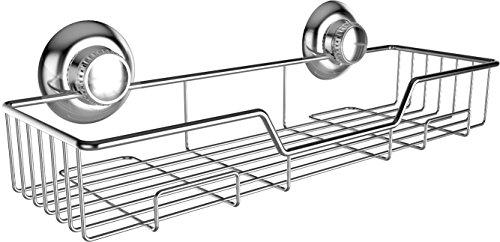 Gecko-Loc Heavy Duty Suction Cup Bathroom Shower Caddy Shelf Storage Basket - Stainless Steel - Chrome