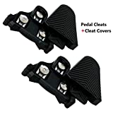 Farbetter Bike Cleats+Cleat Covers Set, 6 Degree Float Cycling Pedals Cleat for SPD-SL Pedals SM-SH11 Cleats, for Road Bike, Mountain Bike, Indoor Spin Cycling