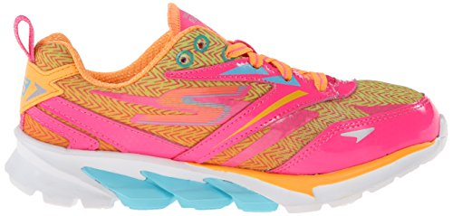 Image of the Skechers Kids 80653L Go Run 4 Running Shoe,Neon Pink/Multi,2 M US Little Kid