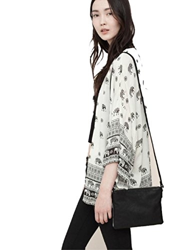 TOPUNDER Women Elephant Half Sleeve Kimono Cardigan Coat Tops Blouse Cover up (L, White) (Brocade Zip Jacket)