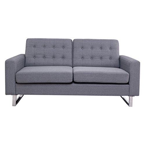 Gray 2 Seat Sofa Couch Loveseat Fabric Upholstered Tufted Living Room Furniture Gray