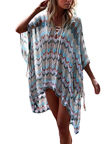 eck Lace Up Crochet Knitted Bikini Tunic Dress Loose Hollow Batwing Sleeve Swimwear Cover Up ()