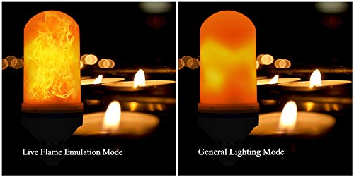 Loveishere LED Flame Effect Fire Light Bulbs- 2 Modes E26 LED Flame Effect Fire Light Bulbs Flickering Fire Atmosphere Decorative Lamps for Hotel/ Bars/ Home Decoration/ Restaurants (1 pack)