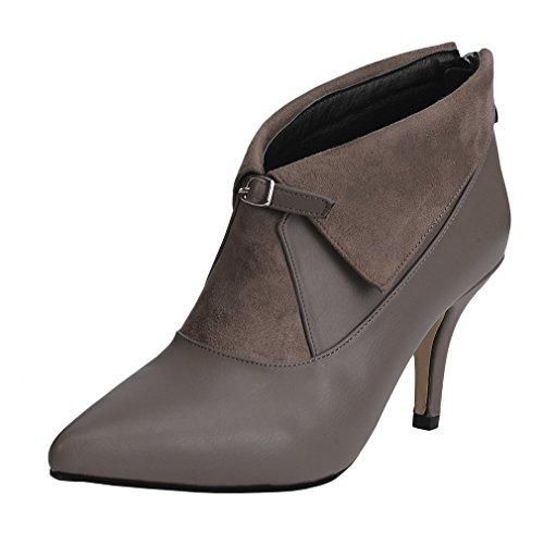 ENMAYER Mujer PU Material Tacones Altos Puntiaguda Hebilla Del Zapato Cremallera Volteado-Borde Botas Del Tobillo Marron oscuro