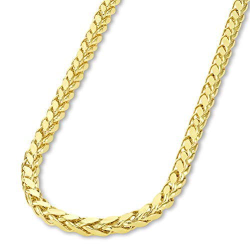 - 14k Yellow Gold 3.5mm Hollow Square Braided D/C Wheat Chain Necklace with Lobster Claw Clasp, 24