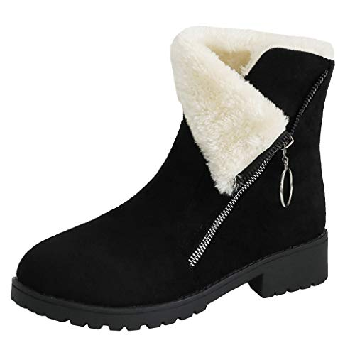 - AIMTOPPY Women Square Heels Zipper Suede Keep Warm Snow Boots Round Toe Shoes