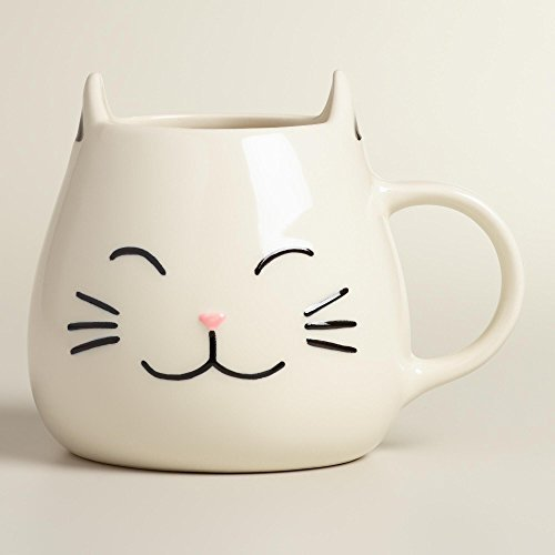 White Cat Coffee Mug with Ears and Paw Print Inside - 17 Oz