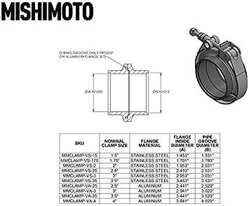 Mishimoto Silver MMCLAMP-VA-35 Aluminum V-Band Clamp 88.9mm 3.5