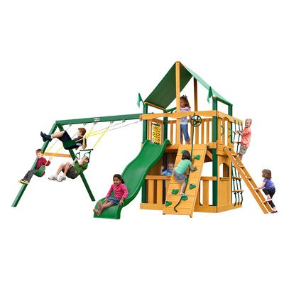 Gorillaplay Sets Home Backyard Playground Chateau Clubhouse Swing Set with Amber Posts and Sunbrella Canvas Forest Green Canopy