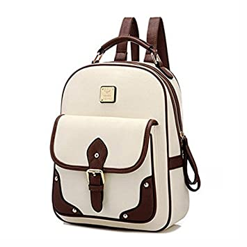 346f066f28 Magic Union Women Backpack Mochila Fashion Women S Pu Leather Backpacks  School Bag High Quality Bags Designer Patchwork - Beige  Amazon.in  Bags