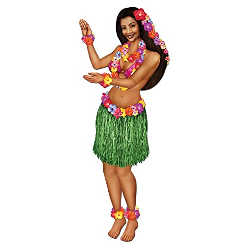 Beistle Club Pack of 12 Tropical Luau Themed Multi-Colored Jointed Floral Hula Girl Party Decorations 38