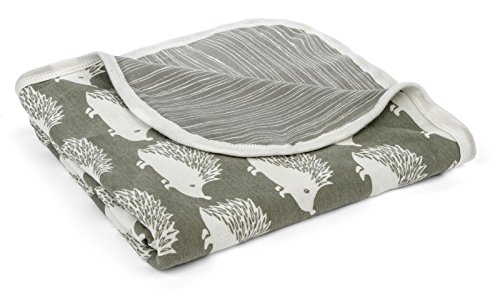 MilkBarn Organic Cotton Stroller Blanket - Grey Hedgehog