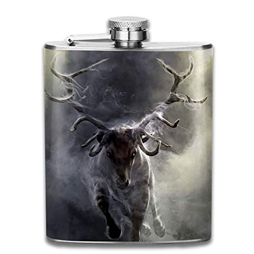Laki-co Cloud Animal Deer Hip Flask for Liquor Stainless Steel Bottle Alcohol 7oz ()