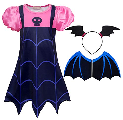 (Cotrio Girls Vampire Dress Up Costume Birthday Party Dresses Boo-Tiful Outfit Set Dressing Up Size 8 (130, 7-8Years,)
