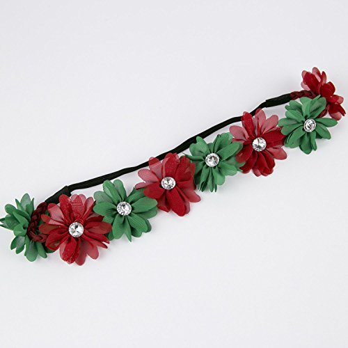 Lux Accessories Xmas Holiday Christmas Headband - Green Red Floral Crown ()