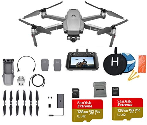 DJI Mavic 2 Zoom with DJI Smart Controller Drone Collapsible Quadcopter Bundle with 2 Batteries, 2X 128GB MicroSD Card Supports 4K Video, Landing Pad