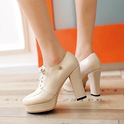 Latasa Womens Fashion Platform Lace-up Oxford High Heels Light Apricot RT2kC