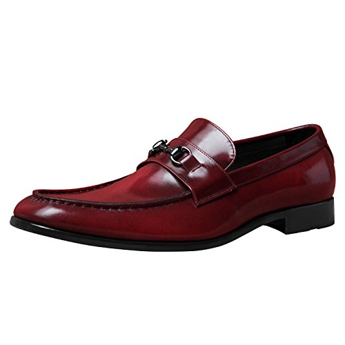 807226dbd8a good iTailor Men s Handmade Shoes   Maroon Burnished Horsebit Loafers