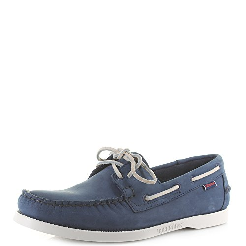 (Sebago Mens Dockside NBK Blue Navy Leather Boat Sh Size 12.5)