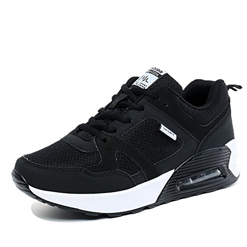 TF6323heise39 EnllerviiD Women Air Max Running Shoes Lace Up Breathable Athletic Fashion Sneakers Black 7 B(M) US