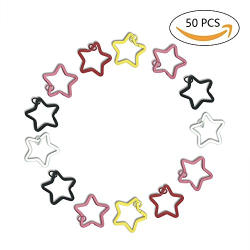 1 Inch Metal Star Pentagon Split Key Ring Keychain Key Holders Assorted Colors Pack of (Personalized Keychains Bulk)