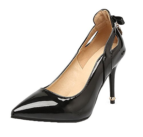 AllhqFashion Womens Pull-On High-Heels Patent Leather Closed-Toe Pumps-Shoes Black vvUeqdC