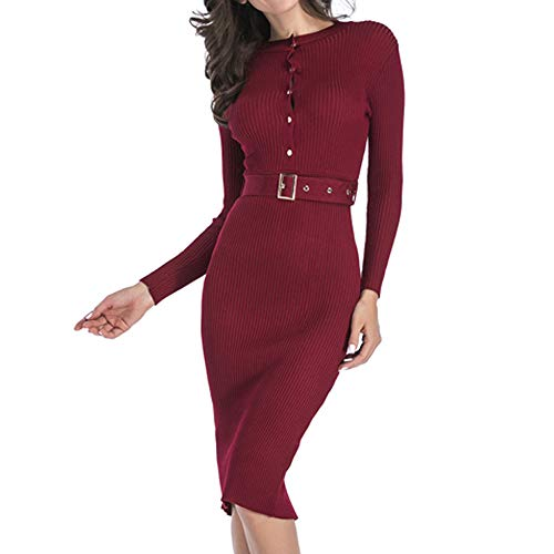 (DIOMOR Spring Ladies Fashion Sheath Dress Long Sleeve Button Back Split Business Party Sweater Dress Carnival Red)