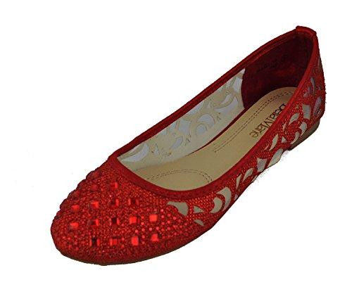 Vrouwen Casual Strass Glitter Mesh Slip Op Ballet Platte Lightweigh Dana14 Rood
