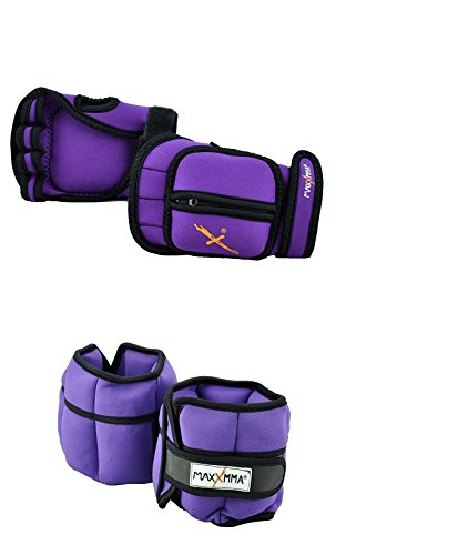 (MaxxMMA 5 lbs Adjustable Ankle Weights Pair + 2 lbs Weighted Gloves (Purple))