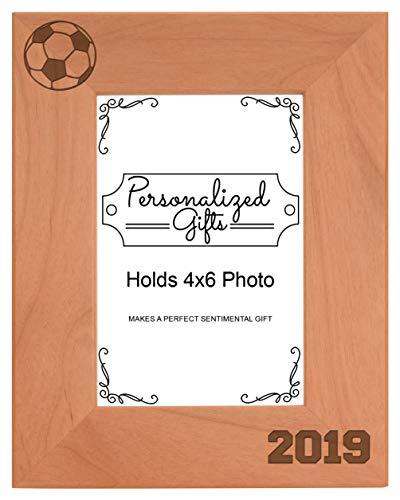 (Soccer Frame 4x6 Soccer 2019 Photo Frame Soccer Gift Wood Engraved 4x6 Portrait Picture Frame)