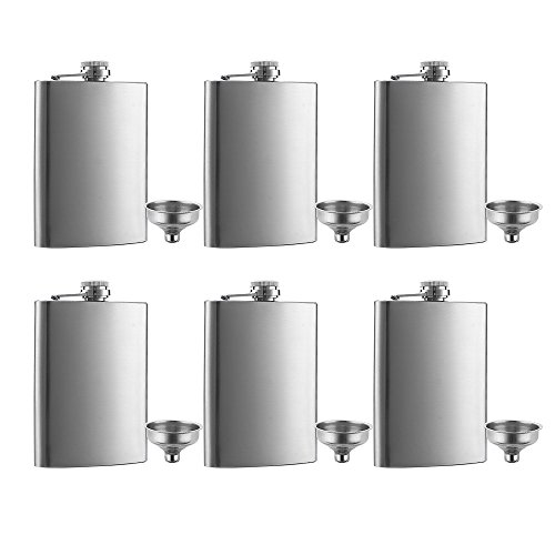 6 Pcs 8 oz Hip Stainless Steel Flask & Funnel Set by QLL, Easy Pour Funnel is Included, Great Gift ()