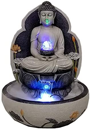YHDP Siéntate Buda Zen Fuentes De Mesa,con Iluminación LED Estatua Fuente De Buda,Jardín Terraza Cubierta Decoración Exterior del Porche Decoración del Patio Gris 23.6inch: Amazon.es: Hogar