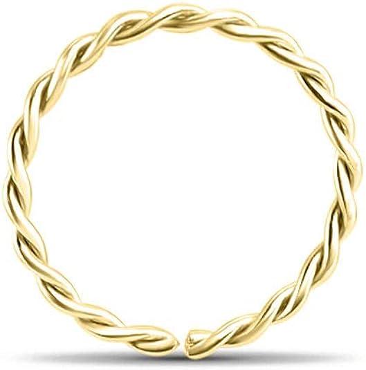 """14KT White Gold Open Hoop Nose Ring 3//8/"""" 5//16/"""" 9//32/"""" 1//4/"""" 18G 20G 22G"""