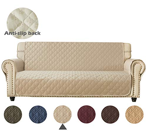 Ameritex Sofa Cover 100% Waterproof Nonslip Quilted Furniture Protector Keep Your Couch Stain, Dirt & Scratches-Free | Extra Large(Pattern2:Beige, XL Sofa)