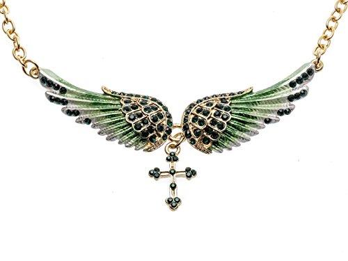 Hiddlston Crystal Guardian Angel Wing Jewelry Cross Custom Choker Necklace Chain For Women Teen Girls