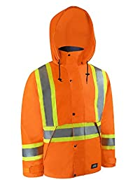 High visibility nylon waterproof jacket with reflective stripes.