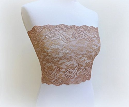 Bronze lace bandeau top. Floral lace strapless. Copper strapless. Golden top. Lace (Golden Bandeau)