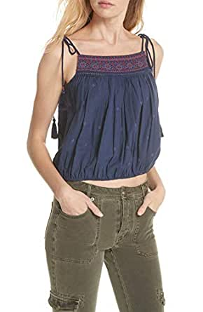 Free People Women's Eternal Love Embroidery Top, Blue Combo (X-Small)