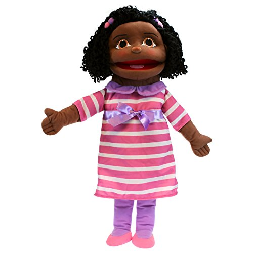 Girl Puppet Skin (The Puppet Company Medium Sized Puppet Buddies Girl Hand Puppet - Dark Skin Tone)