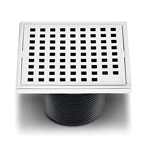 QM Square Shower Drain, Grate made of Stainless Steel Marine 316 and Base made of ABS, Lagos Series Mira Line, 4 inch, Polished Finish, Kit includes Hair Trap/Strainer and Key ()