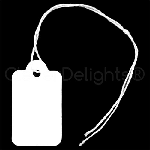 1000 Pack - CleverDelights Mini Price Tags - 3/4'' x 1/2'' - White Jewelry Tags - String Display Hang Tag by CleverDelights