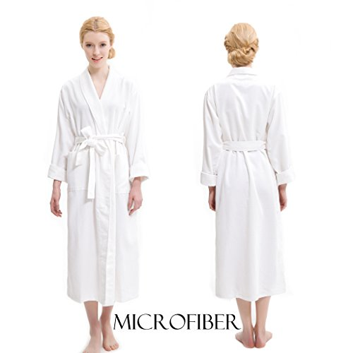 AQUIS White Soft Waffle Weave Robe, Ultra Absorbent & Fast Drying Microfiber Robe - Waffle Pique Robe