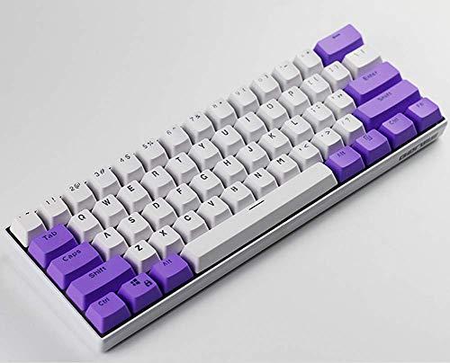 PBT keycaps, Transmitting Light Through Key Cap, 61 Key Ansi Layout OEM Overview,61 Mechanical Keyboard for GK/RK/ALT/Ducky/Anne pro(Fresh Purple)