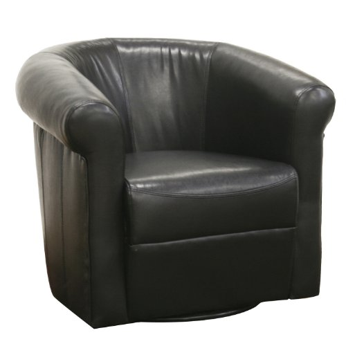 Baxton Studio Julian Black Faux Leather Club Chair with 360 Degree ()